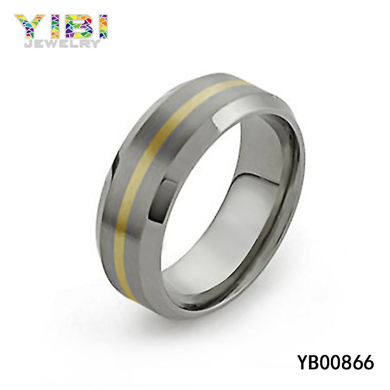 Gold titanium wedding band