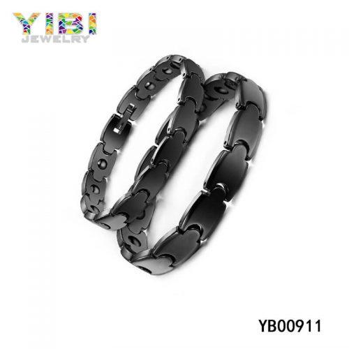Men Black Stainless Steel Bracelet