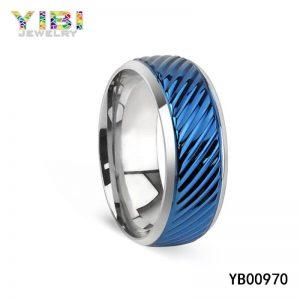 Modern Blue Stainless Steel Ring for Men