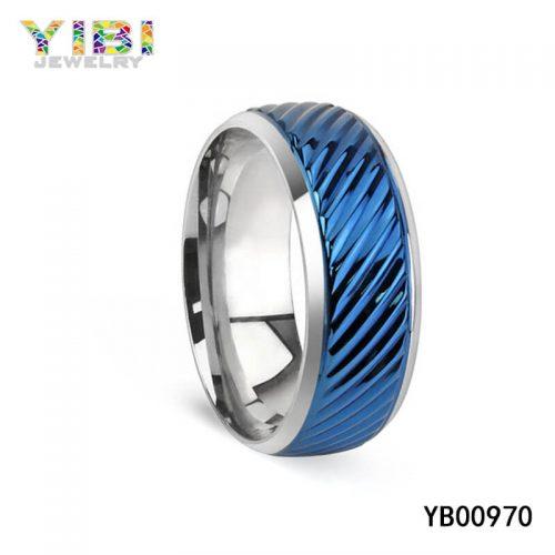 Modern Blue Stainless Steel Ring