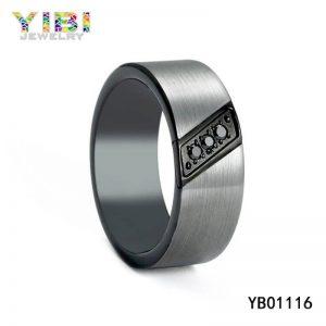 Brushed Steel Wedding Band with Black CZ Inlay