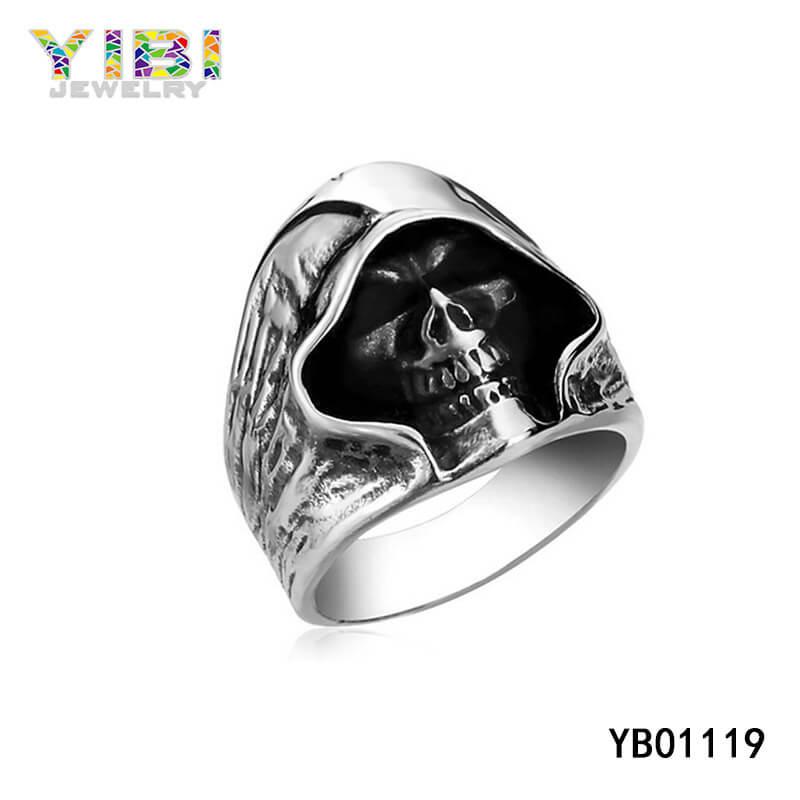 mens stainless steel skull rings