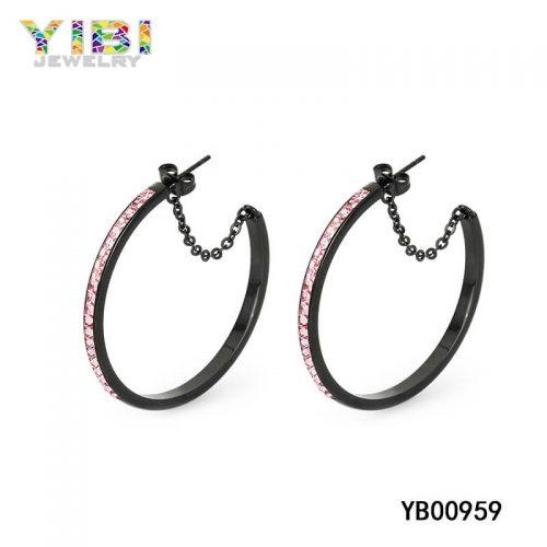 Inlay Black Stainless Steel Earrings