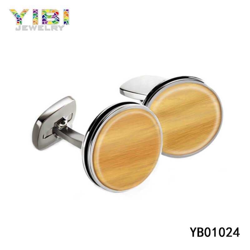Fashion stainless steel wood cufflinks