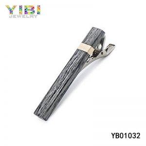 Unique Men Stainless Steel Wood Tie Clips