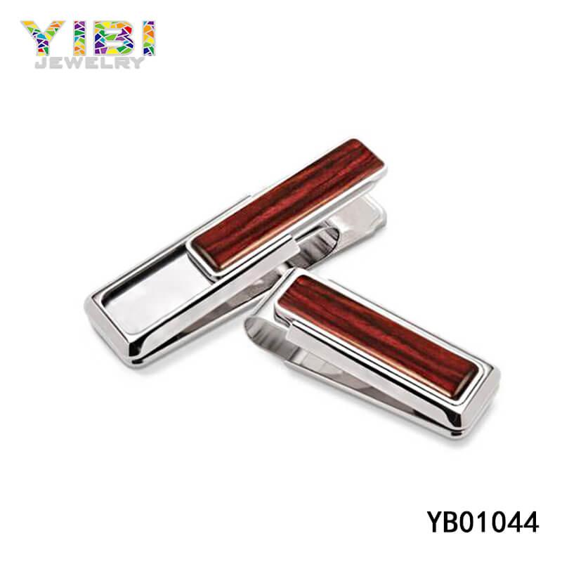 Modern stainless steel wood money clip