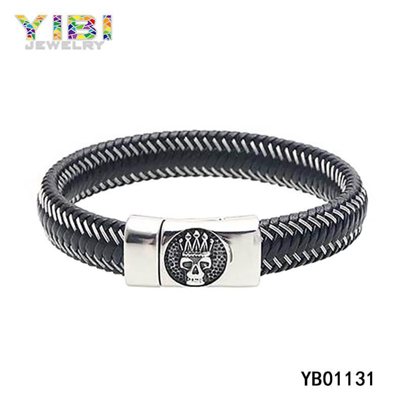 Vintage Men Stainless Steel Leather Bracelet