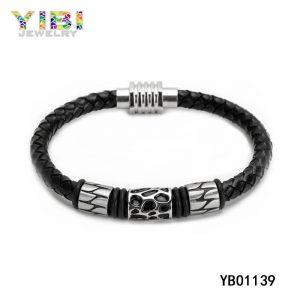 Antique Men Stainless Steel Leather Bracelet