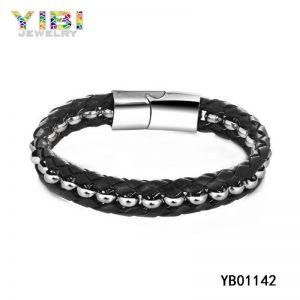 Vintage Men 316L Stainless Steel Leather Bracelet
