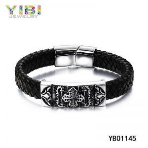 Vintage Black Stainless Steel Leather Bracelet