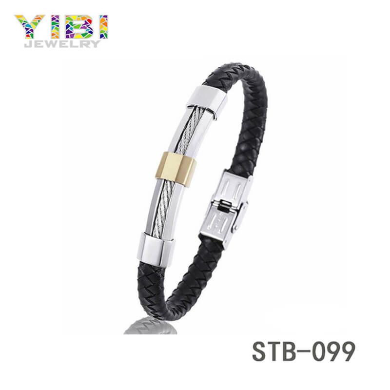Modern Stainless Steel Leather Bracelet