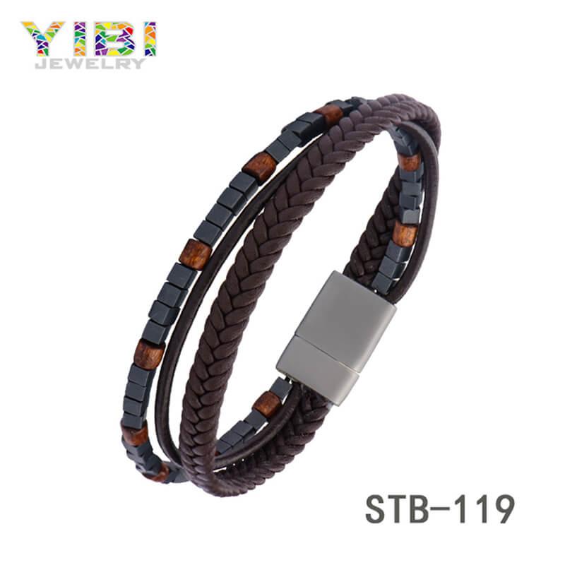 Beautiful Stainless Steel Leather Bracelet