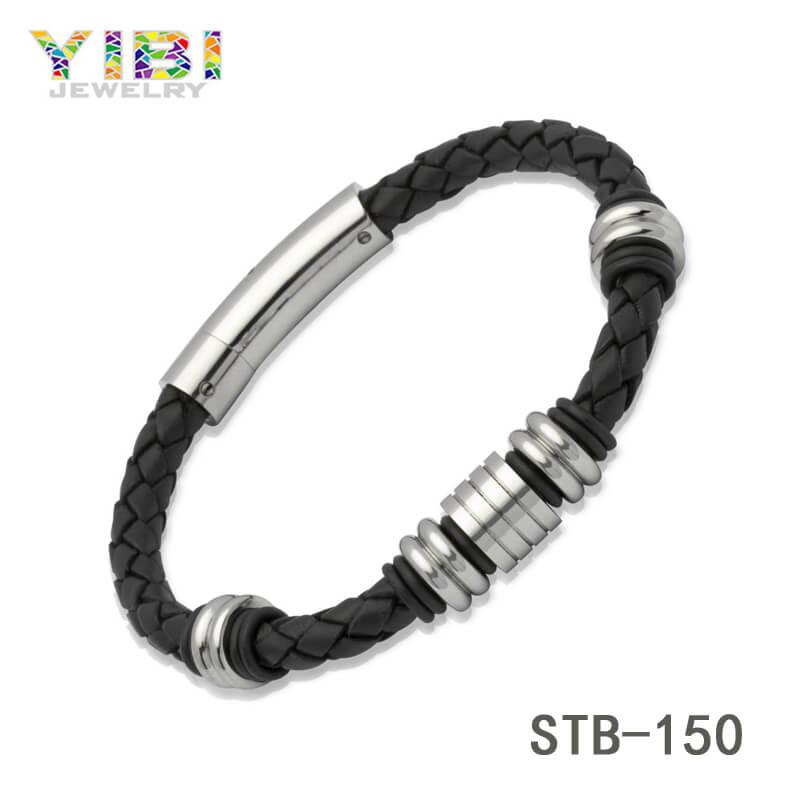 Modern 316L Stainless Steel Leather Bracelet