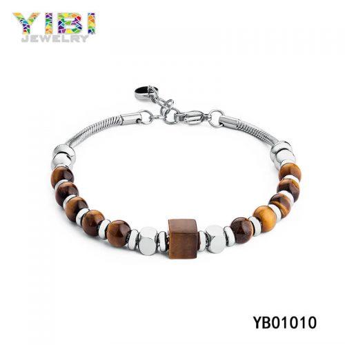Tiger Eye Stone Stainless Steel Beaded Bracelet