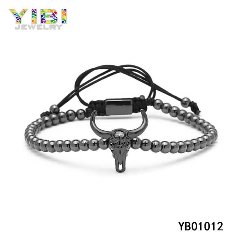 Personalized Black Stainless Steel beaded Bracelet