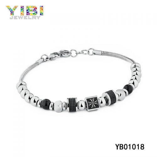 Vintage Stainless Steel Beaded Bracelet