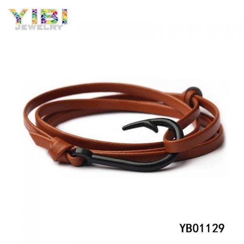Classic Leather Fish Hook Bracelet