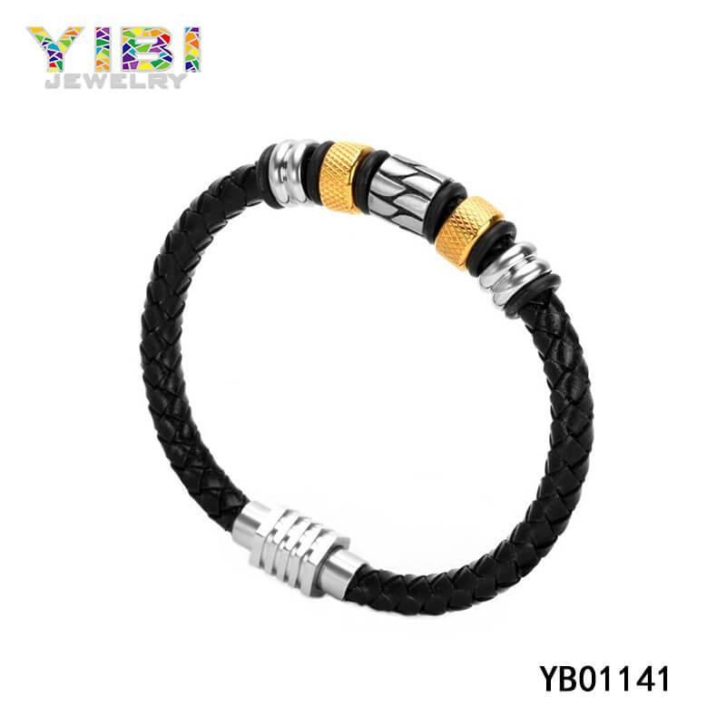 Men Stainless Steel Leather Bracelet