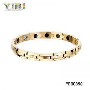 Titanium Bracelet Manufacturer Gold Plated Titanium Magnetic Bracelet