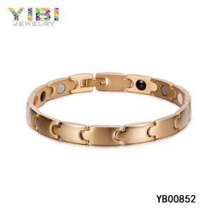 Magnet & Germanium Inlay Gold Plated Titanium Bracelet