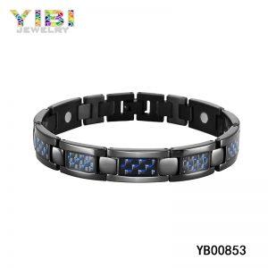 Carbon Fiber Inlay Black Titanium Germanium Bracelet