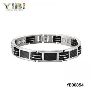 Germanium Inlay Black Carbon Fiber Titanium Bracelet