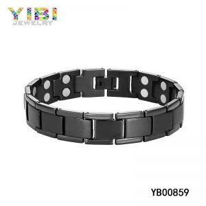 Titanium Jewelry Factory Germanium Inlay Black Titanium ID Bracelet