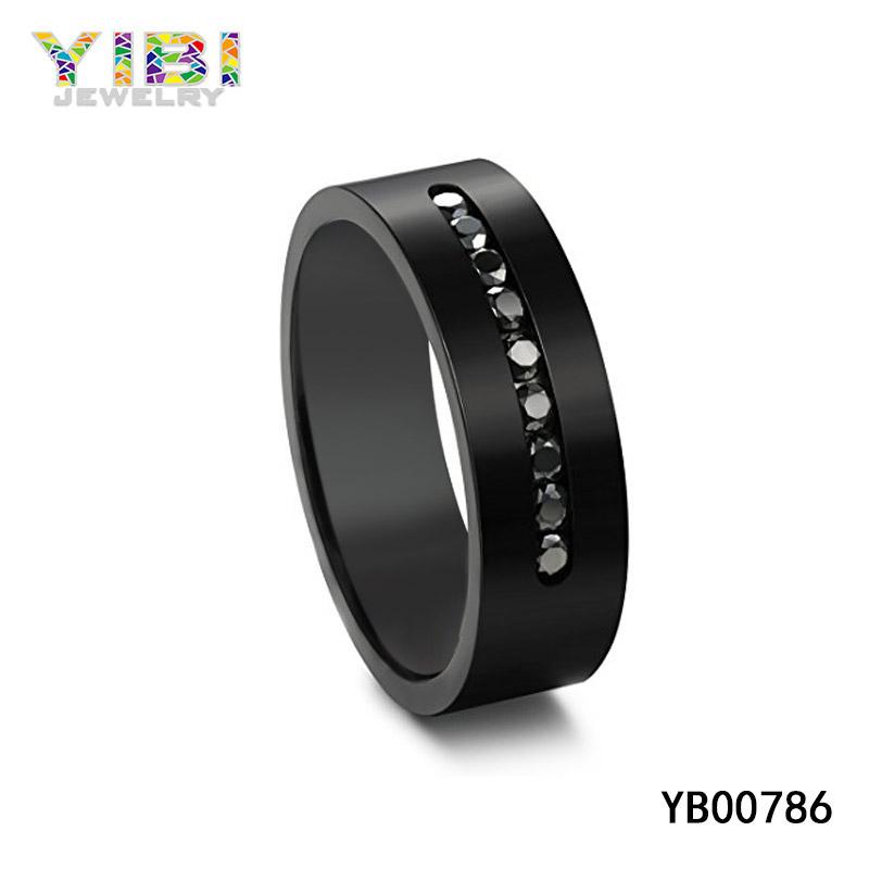 Black Titanium CZ Rings