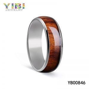 High-Quality Fashion Domed Titanium Wood Rings